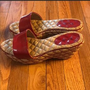 Shoes - Cami Red Wedge Slippers